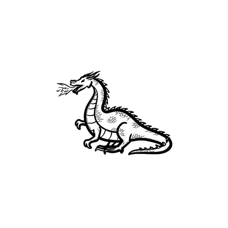 A Vector hand drawn dragon breathing fire outline doodle icon. Dragon breathing fire sketch illustration for print, web, mobile and infographics isolated on white background. Vettoriali