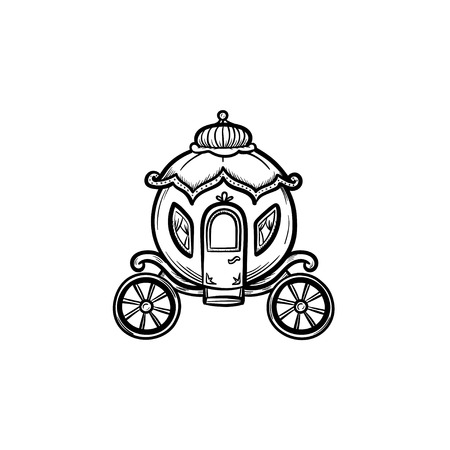 A Vector hand drawn fairy tale carriage outline doodle icon. Fairytale carriage sketch illustration for print, web, mobile and infographics isolated on white background.