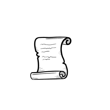 Vector hand drawn scroll of old paper outline doodle icon. Scroll of old paper sketch illustration for print, web, mobile and infographics isolated on white background.