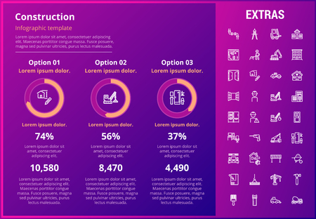 Construction infographic template, elements and icons. Infograph includes customizable graphs, three options, line icon set with construction worker, builder tools, repair person, house building etc. Illustration