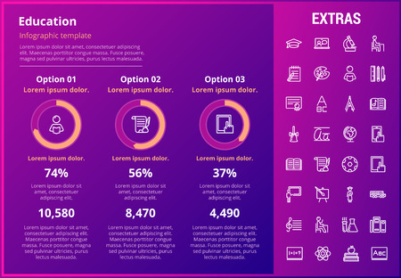 Education infographic template, elements and icons. Infograph includes customizable graphs, three options, line icon set with education certificate, university student, books, college diploma etc. Illustration