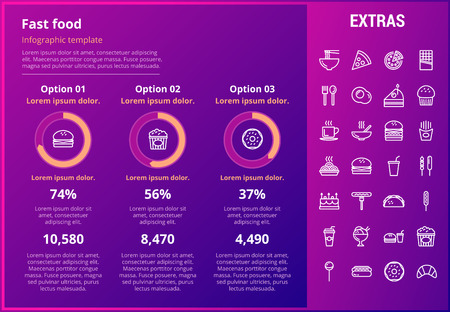Fast food infographic template, elements and icons. Infograph includes customizable graphs, three options, line icon set with fast food, a piece of pizza, snacks, restaurant meal, unhealthy meal etc. Illustration