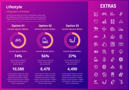 Lifestyle infographic template, elements and icons. Infograph includes customizable graphs, three options, line icon set with healthy food, sport exercise, training machine, leisure activities etc. Illustration