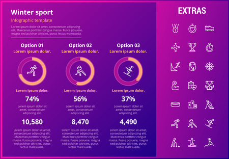 Winter sport infographic template, elements and icons. Infograph includes customizable graphs, three options, line icon set with sport equipment, trophy, team games, champion pedestal, athlete etc.