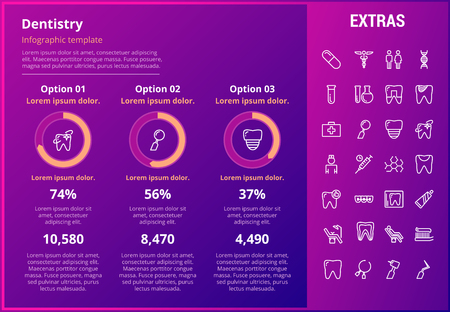 Dentistry infographic template, elements and icons. Infograph includes customizable graphs, three options, line icon set with dentist tools, dental care, tooth decay, teeth health, medicine chest etc.
