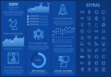 Startup infographic template, elements and icons. Infograph includes customizable graphs, charts, line icon set with startup rocket, business launch, global network technology, internet connection etc  イラスト・ベクター素材