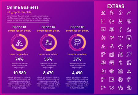Online business infographic template, elements and icons. Infograph includes customizable graphs, three options, line icon set with stack of money, online market, business worker, mobile shop etc. Illustration