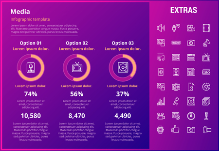 Media infographic template, elements and icons. Infograph includes customizable graphs, three options, line icon set with social media, user profile, broadcast media, record, telecommunication etc.