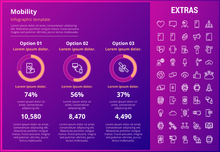 Mobility infographic template, elements and icons. Infograph includes customizable graphs, three options, line icon set with mobile technology, smartphone app, cloud computing, network connection etc.