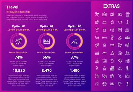 Travel infographic template, elements and icons. Infograph includes customizable graphs, three options, line icon set with tourist attraction, luggage cart, travel planning, holiday vacation etc. Illustration