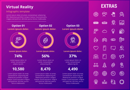 Virtual reality infographic template, elements and icons. Infograph includes customizable graphs, three options, line icon set with virtual reality glasses, vr technology, video games, tech app etc. Illustration