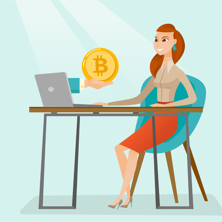 Young caucasian woman working on a laptop and getting gold bitcoin coin from cryptocurrency trading. Bitcoin trading, blockchain network technology concept. Vector cartoon illustration. Square layout.
