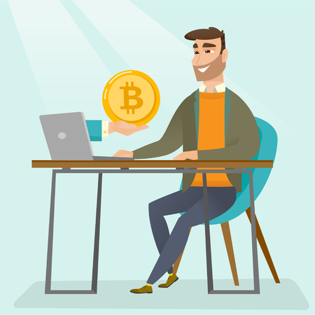 Young caucasian man working on a laptop and getting golden bitcoin coin from cryptocurrency trading. Bitcoin trading, blockchain network technology concept. Vector cartoon illustration. Square layout. Ilustracja