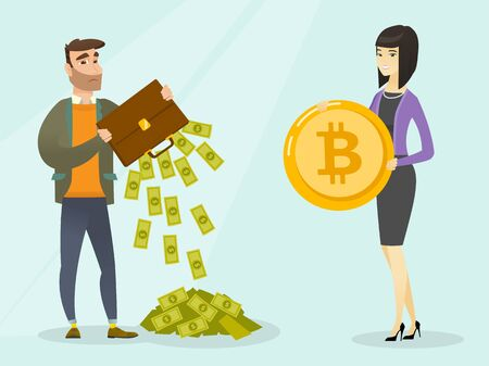 Caucasian white man shaking out money from his briefcase and feeling stress because of impossibility to pay in cash but only by bitcoin coins. Cryptocurrency concept. Vector cartoon illustration. Illustration