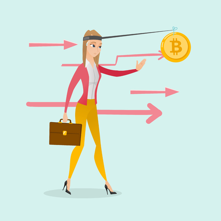Young caucasian white woman motivated by golden bitcoin coin hanging on a fishing rod. Blockchain network technology and cryptocurrency tokens concept. Vector cartoon illustration. Square layout.