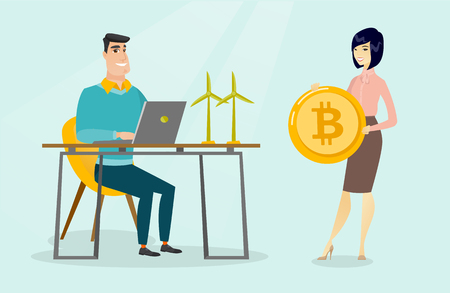 Caucasian worker of wind farm projecting wind turbine on a laptop and young woman standing nearby with a bitcoin coin. Investment of cryptocurrency in green technology. Vector cartoon illustration.