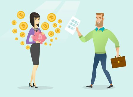 Caucasian white man going with a smart contract to a young woman holding a piggy bank with bitcoin symbol. Smart contract, ICO, blockchain and cryptocurrency concept. Vector cartoon illustration.