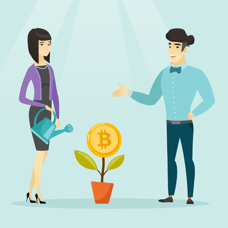 Young caucasian white business woman and asian businessman taking care of flower with bitcoin symbol. Investment, blockchain network technology and cryptocurrency concept. Vector cartoon illustration.