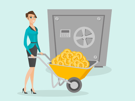 Caucasian woman pushing wheelbarrow full of bitcoin coins on the background of a big safe symbolizing bitcoin cold wallet. Cryptocurrency cold wallet and security concept. Vector cartoon illustration. 矢量图像