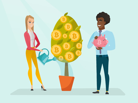 Caucasian white woman watering tree with tokens and afriacn man holding piggy bank with bitcoin symbol. Investment and profit in blockchain network technology, ICO concept. Vector cartoon illustration Ilustracja