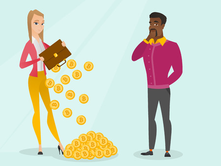 Caucasian business woman shaking out bitcoin coins from her briefcase while young african man thinking about buying virtual currency. Blockchain network technology concept. Vector cartoon illustration