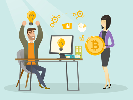 Young caucasian businessman getting investment in the form of bitcoin coin for his startup business project. Concept of successful promotion of new cryptocurrency startup. Vector cartoon illustration.