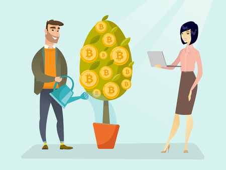 Caucasian man watering tree with bitcoin coins and young woman holding laptop. Investment and profit in blockchain network technology, ICO initial coin offering concept. Vector cartoon illustration. Stock Photo