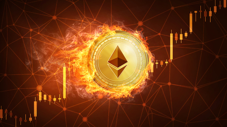 Golden ethereum coin in fire with bull trading stock chart. Ethereum blockchain token grows in price on stock market concept. Cryptocurrency coin on polygon peer to peer network background. Stock Photo