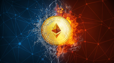 Golden ethereum coin in fire flame, water splashes and lightning. Ethereum blockchain hard fork Byzantium concept. Cryptocurrency symbol in storm illustration with peer to peer network background.