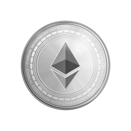 Silver ethereum coin. Crypto currency golden coin ethereum symbol isolated on transparent background. Realistic vector illustration.