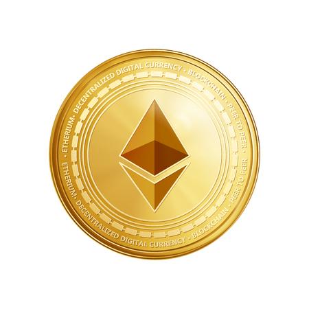 Moneda de oro etéreo. Moneda de oro de la moneda crypto símbolo ethereum aislado sobre fondo transparente. Ilustración vectorial realista.