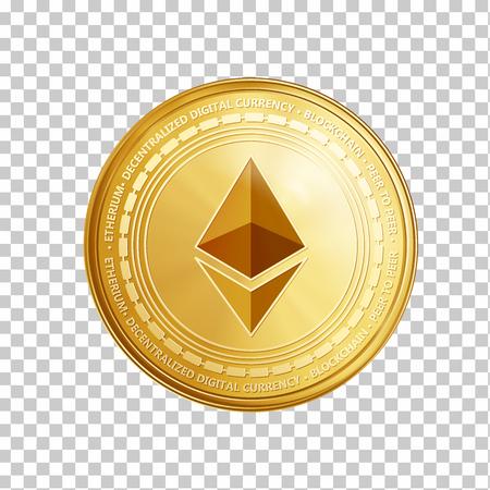 Złota moneta ethereum. Krypto waluty złoty symbol ethereum monety na przezroczystym tle. Realistyczna ilustracja wektorowa.