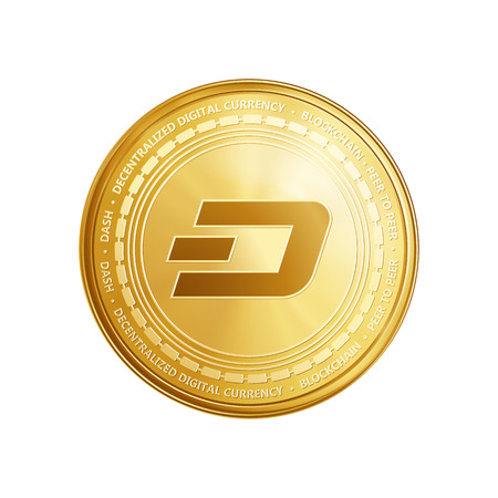 Golden dash coin. Crypto currency blockchain coin dash symbol isolated on white background. Realistic vector illustration. Ilustracja