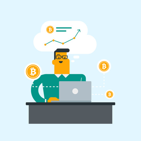 Young caucasian man working on a laptop and getting golden bitcoin coins from cryptocurrency trading. Bitcoin trading, blockchain network technology concept. Vector cartoon illustration. Square layout