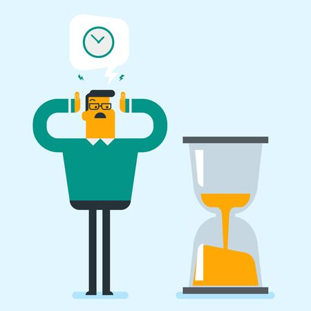Young caucasian white businessman looking at hourglass symbolizing deadline. Businessman worrying about deadline terms. Time management and deadline concept. Vector cartoon illustration. Square layout