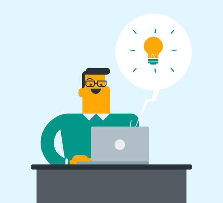Young caucasian white businessman sitting at workplace with bright ligh bulb because he came up with successful business idea. Businessman working on a new business idea. Vector cartoon illustration.