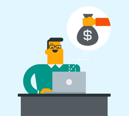 Caucasian white businessman sitting at the workplace with laptop and getting bag of money. Man earning money from online business. Online business concept. Vector cartoon illustration. Square layout. Illustration