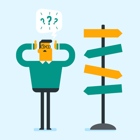 Young confused caucasian white businessman thinking about solution of business problem while standing near the road sign with a lot of arrows symbolizing business solution. Vector cartoon illustration