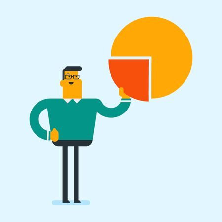 Young caucasian white shareholder taking the share of financial pie chart. Businessman sharing profit. Market share concept. Vector cartoon illustration. Square layout.