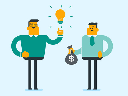 Young caucasian white businessman exchanging his business idea light bulb for money bag. Businessman selling his business idea. Concept of successful idea. Vector cartoon illustration. Square layout.
