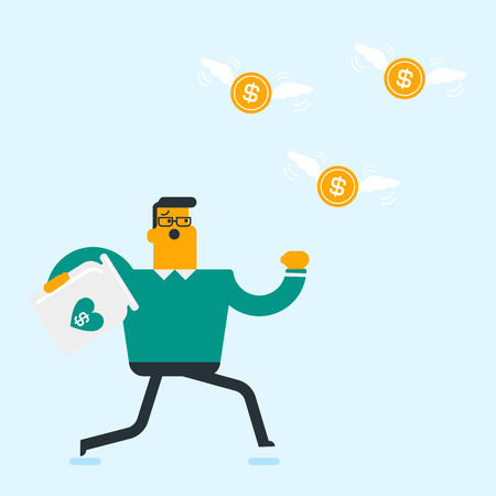 Young caucasian white businessman running in a hurry for flying golden coins with wings. Businessman trying to catch dollar coins and put them into empty glass jar. Vector cartoon illustration.