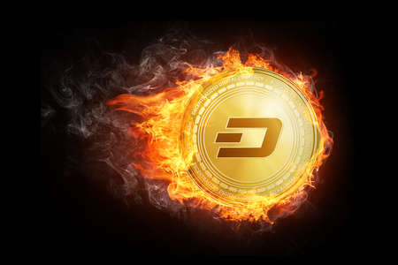 Golden dash coin flying in fire flame. Blockchain token grows in price on stock market concept. Burning crypto currency dash symbol illustration isolated on black background. Stock Photo
