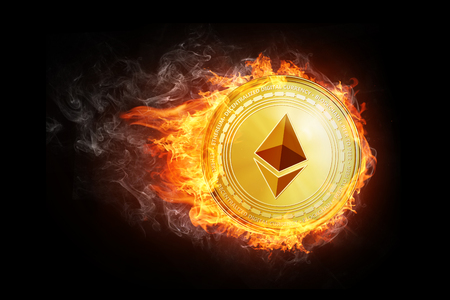 Golden ethereum coin flying in fire flame. Blockchain token grows in price on stock market concept. Burning crypto currency ethereum symbol illustration isolated on black background.