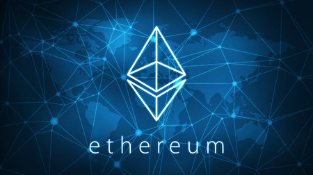 Ethereum symbol on futuristic hud polygon background with world map and blockchain peer to peer network. Global cryptocurrency and ICO initial coin offering business banner concept.