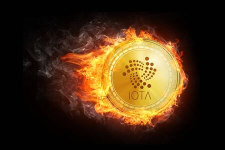 Golden IOTA coin flying in fire flame. Blockchain token grows in price on stock market concept. Burning crypto currency IOTA symbol illustration isolated on black background. Stock Photo