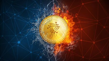 Golden IOTA coin in fire flame, water splashes and lightning. IOTA blockchain hard fork concept. Cryptocurrency symbol in storm with peer to peer network polygon background. Stock Photo