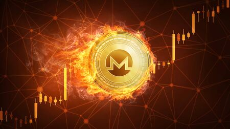 Golden Monero coin in fire with bull trading stock chart. Monero blockchain token grows in price on stock market concept. Cryptocurrency coin on polygon peer to peer network background. Stock Photo