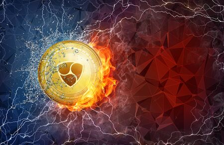 Golden NEM coin in fire flame, water splashes and lightning. NEM blockchain hard fork concept. Cryptocurrency symbol in storm with peer to peer network polygon background.