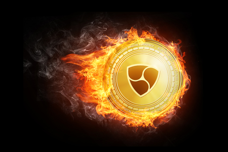 Golden NEM coin flying in fire flame. Blockchain token grows in price on stock market concept. Burning crypto currency NEM symbol illustration isolated on black background.