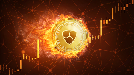 Golden NEM coin in fire with bull trading stock chart. NEM blockchain token grows in price on stock market concept. Cryptocurrency coin on polygon peer to peer network background. Stock Photo